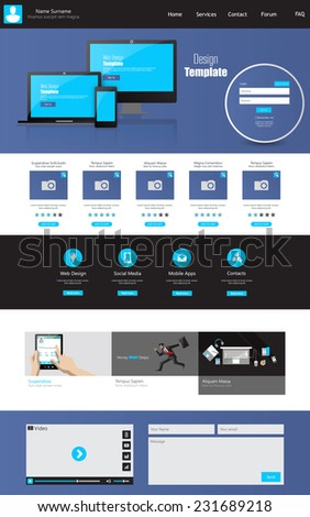One page business website template - home page design - clean and simple - vector illustration - stock vector