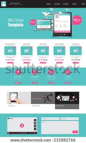 One page business website template home stock vector hd royalty one page business website template home page design clean and simple vector illustration accmission Images