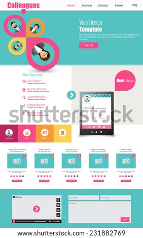 One page business website template home stock vector 2018 one page business website template home page design clean and simple vector illustration wajeb Choice Image