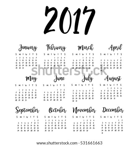 one page calendars 2017