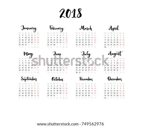 One Page Calendar 2018 Calligraphy Months Stock Vector 749562976