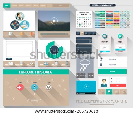 One page flat website design, with isolated elements for ux/ui design. Buttons, banners headers, calendar, menus , icons etc. - stock vector