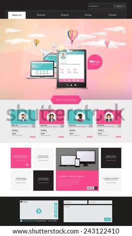 One Page Modern Website template in editable vector format  - stock vector