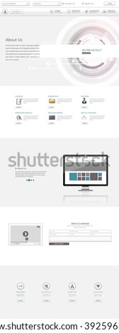 One Page Technology Website Template Vector Eps10, Modern Web Design with flat UI elements and abstract header. Ideal for Business layout.
