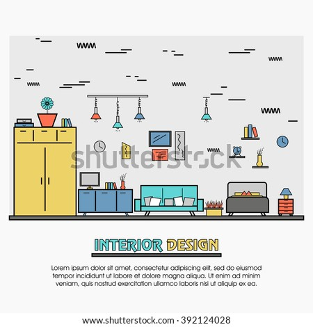 One page web design template, line art flat icons based on property decoration,  commercial, residential, real estate, apartment dwelling. Hero image, website layout and website slider. - stock vector