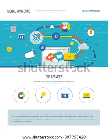 One page web design template with color line icons of digital marketing and social network. Teamwork and communication. Social media. Marketing strategy. Website elements layout. - stock vector