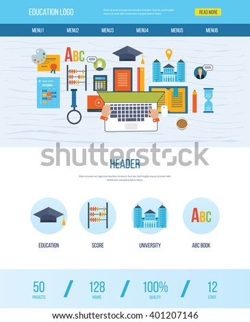 One Page Web Design Template Icons Stock Vector (2018) 401207146 ...