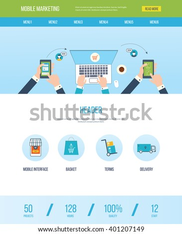 One Page Web Design Template Icons Stock Vector   Shutterstock