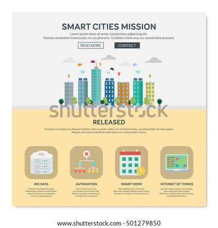 One page web design template with smart cities. Flat design graphic, website elements layout. Vector illustration.