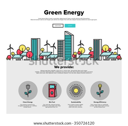 One page web design template with thin line icons of city environmentally friendly green energy, sun power development with solar panels. Flat design graphic hero image concept website elements layout - stock vector