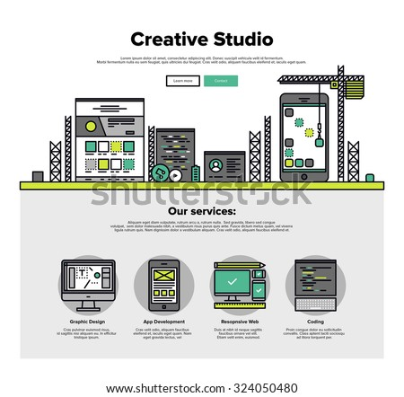 One page web design template with thin line icons of creative studio services like web coding for responsive design and app development. Flat design graphic hero image concept, website elements layout - stock vector