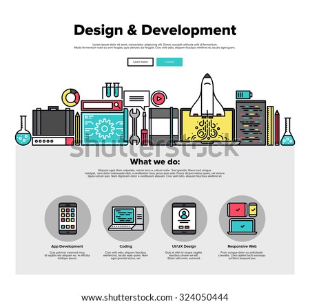 One page web design template with thin line icons of development services by design studio. UI and UX for web, app coding and more. Flat design graphic hero image concept, website elements layout. - stock vector