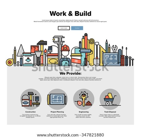 One page web design template with thin line icons of engineering work tools, building equipment objects, professional repairing service. Flat design graphic hero image concept, website elements layout - stock vector