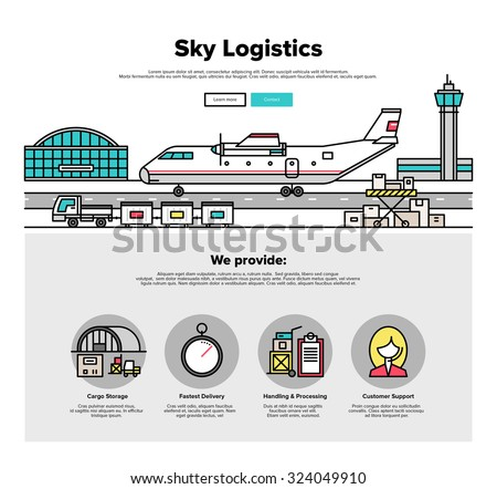 One page web design template with thin line icons of heavy airplane freight on airport loading platform, commercial shipment by airline. Flat design graphic hero image concept, website elements layout - stock vector