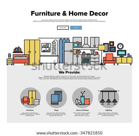 One page web design template with thin line icons of home interior decoration, living room improvement, furniture and decor for house. Flat design graphic hero image concept, website elements layout. - stock vector