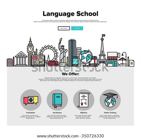 One page web design template with thin line icons of language school training program, study foreign language abroad, internet lessons. Flat design graphic hero image concept, website elements layout. - stock vector