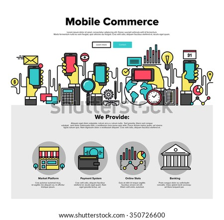 One page web design template with thin line icons of mobile business commerce, smartphone apps for shopping online, internet payments. Flat design graphic hero image concept, website elements layout. - stock vector
