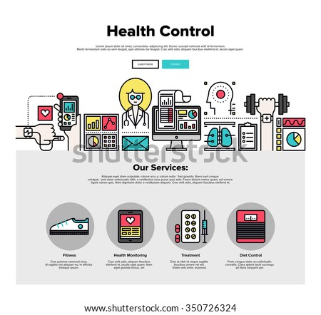 One page web design template with thin line icons of mobile health control technology, mHealth doctor app, digital medicine healthcare. Flat design graphic hero image concept, website elements layout. - stock vector