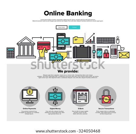 One page web design template with thin line icons of online bank services, internet banking operations, secure payment transactions. Flat design graphic hero image concept, website elements layout. - stock vector
