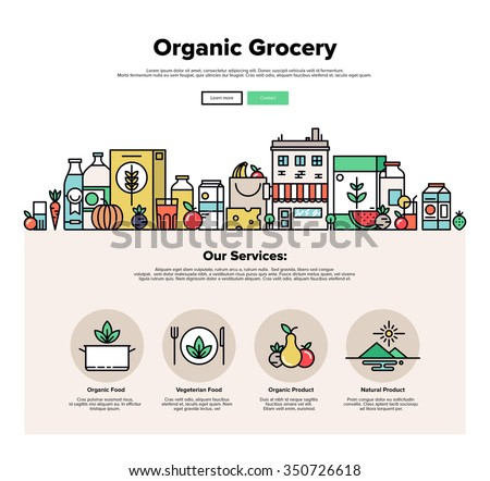 One page web design template with thin line icons of organic food and fresh natural products, small city store with vegetarian groceries. Flat design graphic hero image concept website elements layout - stock vector