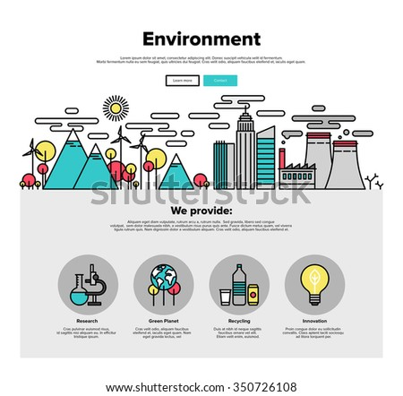 One page web design template with thin line icons of planet ecology environment, city environmental pollution, green earth conservation. Flat design graphic hero image concept, website elements layout - stock vector