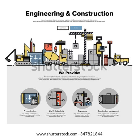 One page web design template with thin line icons of real estate construction service, building architecture with engineering solution. Flat design graphic hero image concept, website elements layout. - stock vector