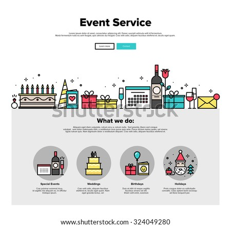 One page web design template with thin line icons of special event and happy birthday party organization, catering service agency. Flat design graphic hero image concept, website elements layout. - stock vector