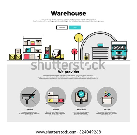 One page web design template with thin line icons of wholesale warehouse storage, forklift lorry loading goods in box for truck delivery. Flat design graphic hero image concept website elements layout - stock vector
