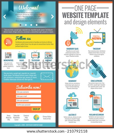 One page web site template for mass media communication industry vector illustration - stock vector