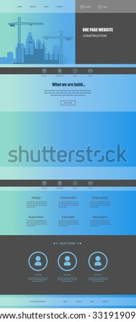 One page website design. - stock vector