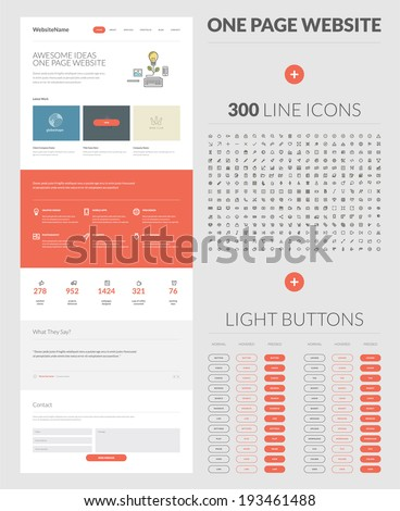 One page website design template. All in one set for website design that includes one page website templates, set of 300 line icons, and set of normal, hovered and pressed light buttons. - stock vector