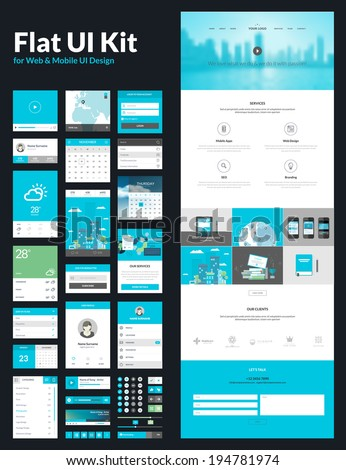 One page website design template. All in one set for website design that includes one page website templates, flat UI kit for web and mobile UI design, and flat design concept illustrations.     - stock vector