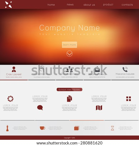 One page website design template. All in one set for website design that includes one page website templates, set of line icons, ux/ui kit for website design, and flat design illustrations.