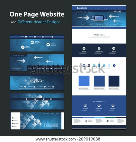 One Page Website Design Template and Different Headers - stock vector