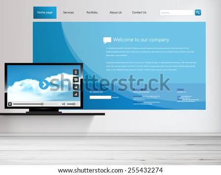 One page website design Template and interior tv on the wall - stock vector