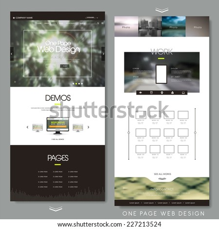 one page website design template with blur background - stock vector