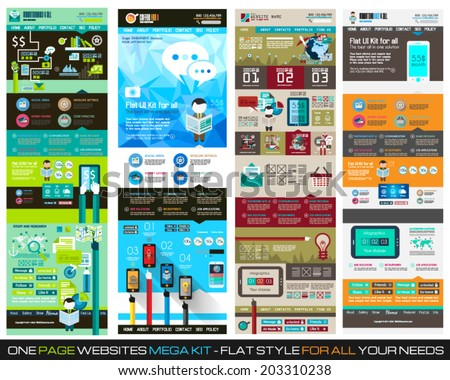 One page website flat UI design template SET 1. It include a lot of flat stlyle icons, forms, header, footeer, menu, banner and spaces for pictures and icons all in one page. - stock vector