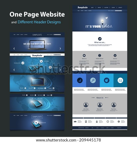 One Page Website Template and Different Header Designs - stock vector