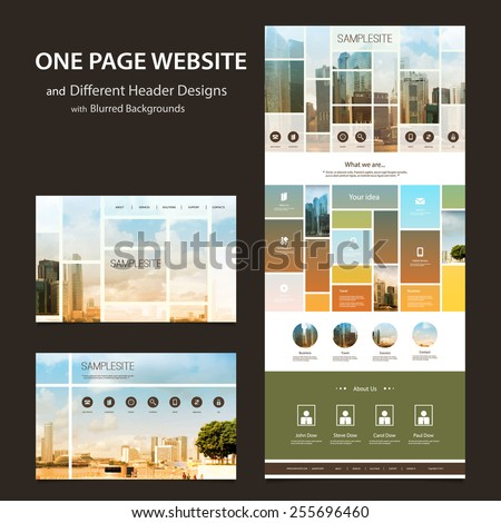 One Page Website Template and Different Header Designs with Blurred Backgrounds - Mosaics - stock vector