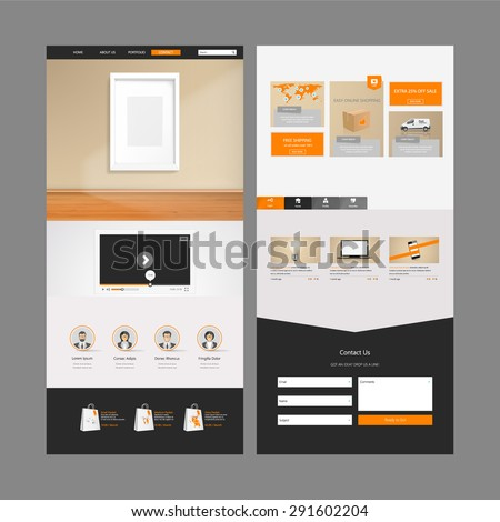 One Page Website Template and Header Designs. - stock vector