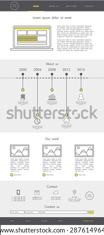 One page website template design for your business with linear elements in grey and yellow colors. Round flat icons. EPS 10 - stock vector