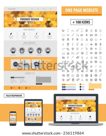 One page website template. Responsive design computer, tablet, phone. Ui concept design.  - stock vector