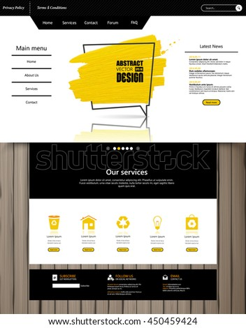 One Page Website Template Vector Eps10, Modern Web Design with flat UI elements, and abstract speech bubble. Ideal for Business layout. - stock vector