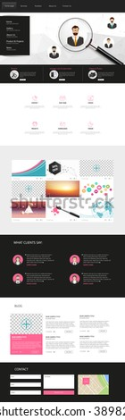 One Page Website Template Vector Eps10, Modern Web Design with flat UI elements and  header. Ideal for Business layout.