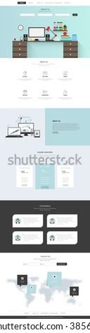 One Page Website Template Vector Eps10, Modern Web Design with flat UI elements and workplace illustration. Ideal for Business layout.