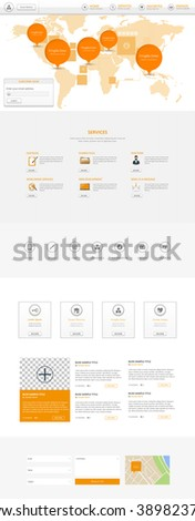 One Page Website Template Vector Eps10, Modern Web Design with flat UI elements and world map header illustration. Ideal for Business layout.  - stock vector