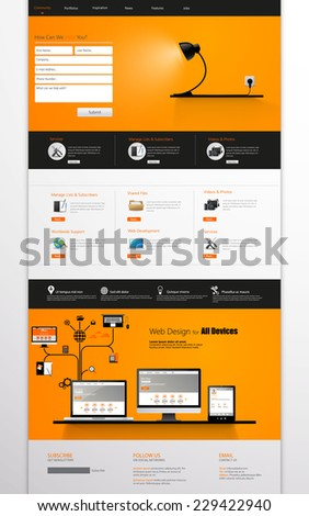 One page website template, vector illustration - stock vector