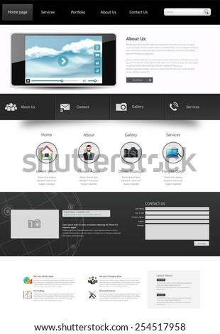 One Page Website Template. Vector illustration. - stock vector