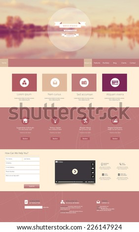 One Page Website Template with a retro vintage instagram colors, filter, and blurred background - stock vector