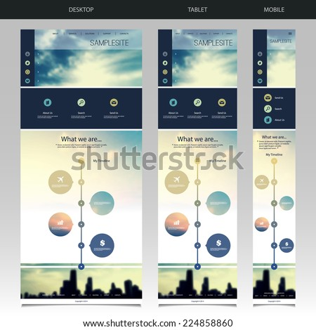 One Page Website Template with Blurred Background - Sunset and Chicago Skyline Pattern Header Design - Desktop, Tablet, Mobile Version - stock vector